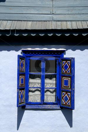 Shuttered Window stock photo, Romania, Bucharest, The Village Museum, A Window on a village house by David Ryan