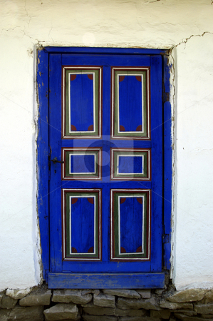 Blue Door stock photo, Romania, Bucharest, The Village Museum, Wooden Door of a village house by David Ryan