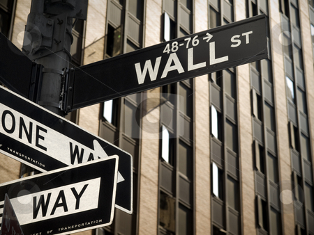 Wall Street stock photo, A Wall Street sign in Manhattan New York. by Ignacio Gonzalez Prado