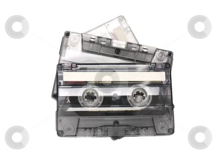 Three tapes stock photo, Three recordable audio tapes. by Ignacio Gonzalez Prado