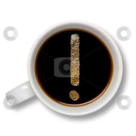 Cup of coffee stock photo, Top view of an isolated cup of coffee with a coffee bubble exclamation mark inside. by Ignacio Gonzalez Prado