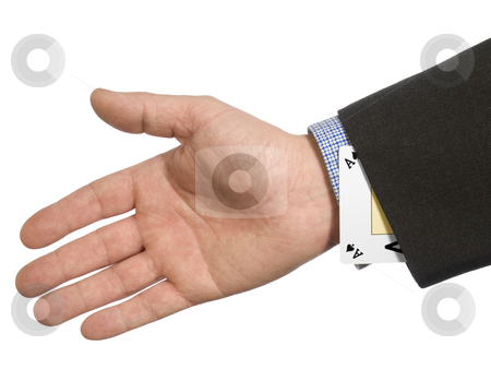 Ace up your sleeve  stock photo, A man's hand hiding an ace up his sleeve. by Ignacio Gonzalez Prado