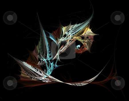 Abstract wings stock photo, Abstract wings on black background - illustration by J?
