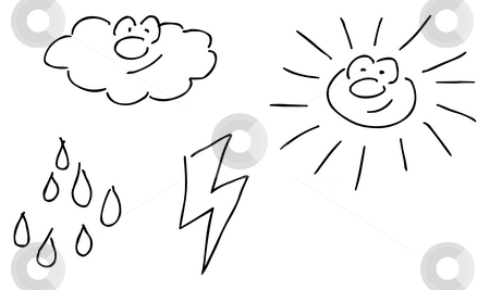 Weather stock photo, Funny weather comic symbols - hand drawn illustration by J?