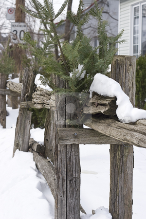Wood fence stock photo, Snowed in wood fence with decorative cedar branch by Yann Poirier