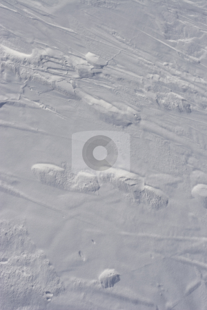 Snow track stock photo, Faint foot print left in the snow by Yann Poirier