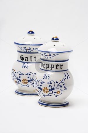 Pepper and salt shacker stock photo, Old fashion ceramic salt and pepper shacker by Yann Poirier