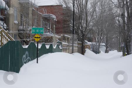 Snowed in cul de sac stock photo, Snowed in back street during storm by Yann Poirier