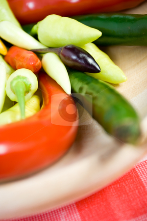 Colorful chili pepper stock photo, Stack of colorful chili as seasoning ingredients by R. Eko Bintoro