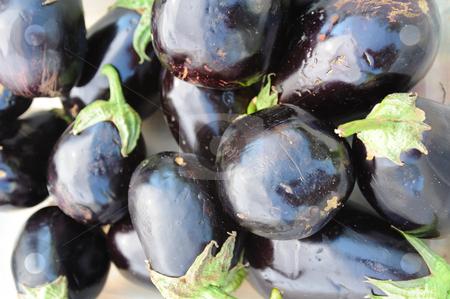 Eggplant stock photo, A Farmers market bin filled with large fresh purple eggplant by Lynn Bendickson