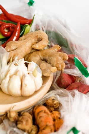 Seasoning ingredients stock photo, Variety of seasoning ingredients isolated on white background by R. Eko Bintoro