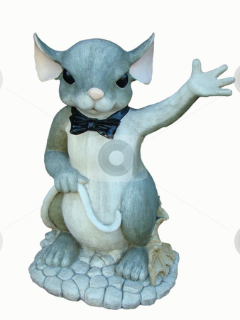 Mrs. Mouse stock photo, Mrs. Mouse ceramic figure isolated on white by CHERYL LAFOND