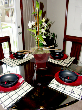 Table stock photo, Table setting in black and red by Cora Reed