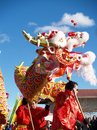 Dragon stock photo, Editorial image of a dragon dance for chinese new year by Cora Reed