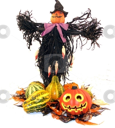 Center piece stock photo, Halloween centerpiece with a scare crow by Cora Reed