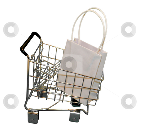 Shopping cart stock photo, Shopping cart with bag on white isolated by Cora Reed