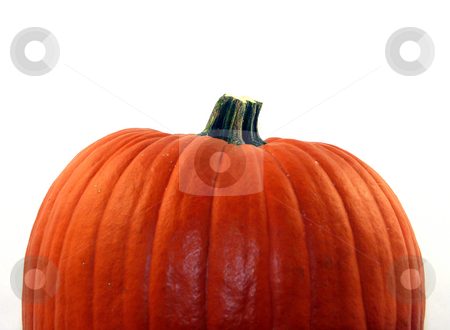 Isolated pumpkin stock photo, A Halloween pumpkin ready to carve by Cora Reed