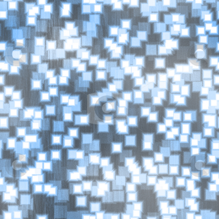 Funky Blue Squares Pattern stock photo, Blue squares over a brushed metal texture.  This pattern tiles seamlessly in any direction. by Todd Arena
