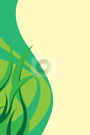 Green Foliage Layout stock photo, Green foliage layout with swirls and copyspace. by Todd Arena
