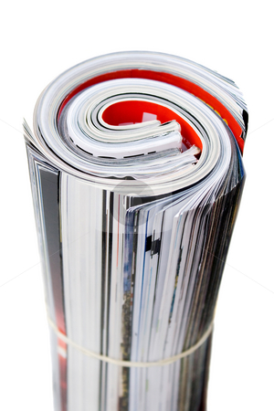 Rolled Up Magazines stock photo, Rolled up magazines isolated over white. Shallow depth of field. by Todd Arena
