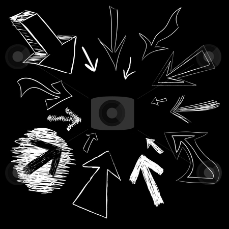 Arrow Doodles stock photo, Arrow doodles pointing in a circular frame shape. by Todd Arena