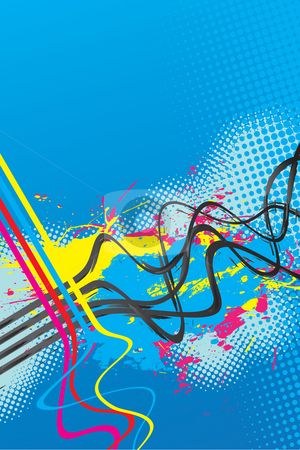Squiggle Lines Splatter stock photo, Abstract layout with wavy lines in a cmyk color scheme. by Todd Arena