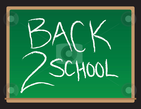 Back To School Chalkboard stock photo, A drawing of a chalkboard with the words Back to School written. by Todd Arena