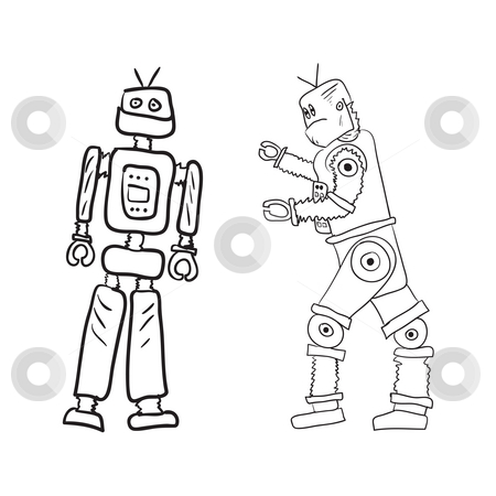 Robots stock photo, A drawing of two robots in different poses. by Todd Arena