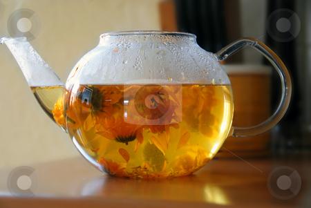 Calendula tea stock photo, Tea from calendula flowers in glass transparent teapot by Julija Sapic