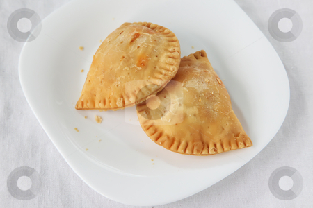 Curry puff pastry stock photo, Curry puff, spicy pastry asian empanada fried snack by Kheng Guan Toh