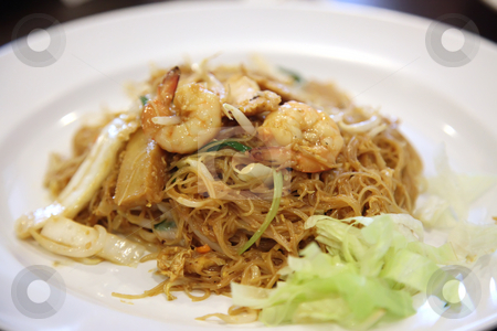 Chinese glass noodles stock photo, Chinese fried glass noodles with prawns traditional cuisine by Kheng Guan Toh