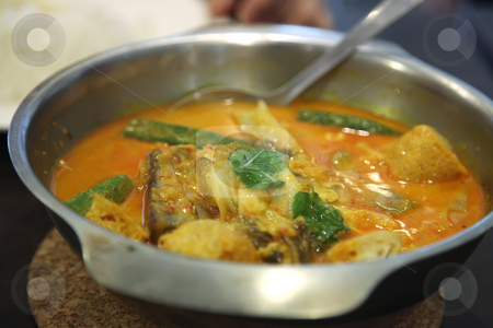 Asian fish curry stock photo, Traditional asian spicy fish curry in metal bowl by Kheng Guan Toh