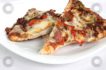 Mexican pizza stock photo, Mexican pizza with chillis and jalapeno peppers, slice on plate by Kheng Guan Toh