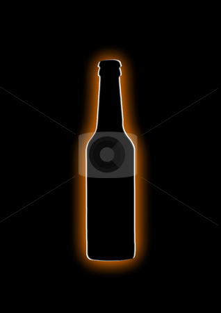 Shining Beer Bottle stock photo, Orange-white silhouette of a beer bottle on black background by Reinhart Eo