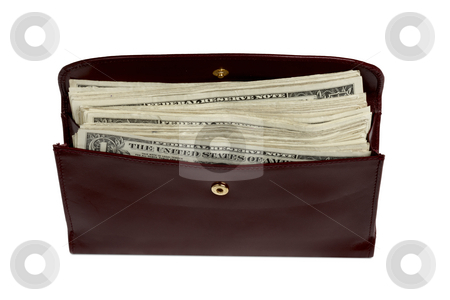 Wallet stuffed with money stock photo, Woman's leather wallet stuffed with dollar bills by James Barber