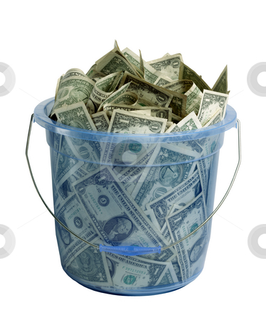 Bucket-O-Bucks on white stock photo, Large blue transparent plastic bucket filled with dollar bills on white background by James Barber