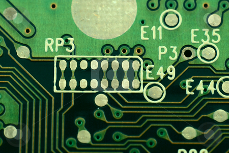 Electronic boards stock photo, Pictures of boards with several electronic components and connectors by Albert Lozano