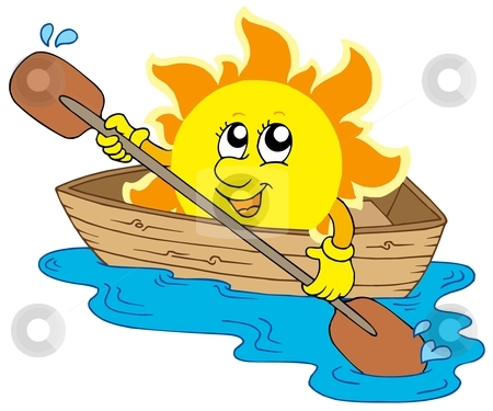 Sun in boat stock vector clipart, Sun in boat - vector illustration. by Klara Viskova