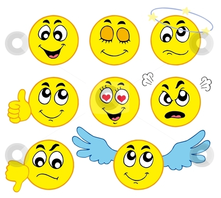 Various smileys 1 stock vector clipart, Various smileys 1 on white background - vector illustration. by Klara Viskova