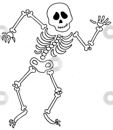 Dancing skeleton stock vector clipart, Dancing skeleton on white background - vector illustration. by Klara Viskova