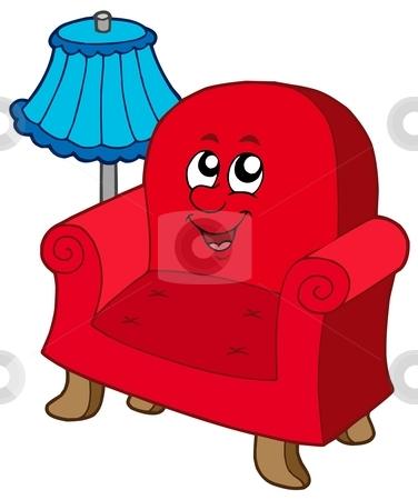 Cartoon armchair with lamp stock vector clipart, Cartoon armchair with lamp - vector illustration. by Klara Viskova