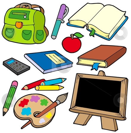 Back to school collection 1 stock vector clipart, Back to school collection 1 - vector illustration. by Klara Viskova