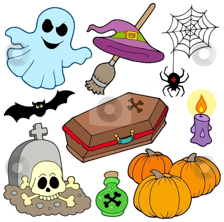 Various Halloween images 3 stock vector clipart, Various Halloween images 3 - vector illustration. by Klara Viskova