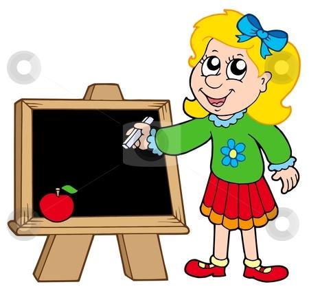 School girl writing on blackboard stock vector clipart, School girl writing on blackboard - vector illustration. by Klara Viskova
