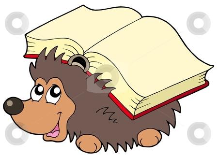 Hedgehog with book stock vector clipart, Hedgehog with book - vector illustration. by Klara Viskova