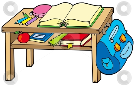 School table stock vector clipart, School table on white background - vector illustration. by Klara Viskova