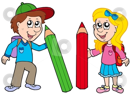 Boy and girl with giant crayons stock vector clipart, Boy and girl with giant crayons - vector illustration. by Klara Viskova