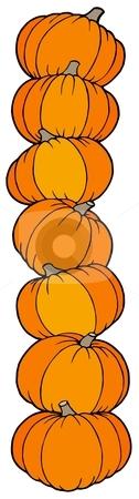 Vertical line of pumpkins stock vector clipart, Vertical line of pumpkins - vector illustration. by Klara Viskova