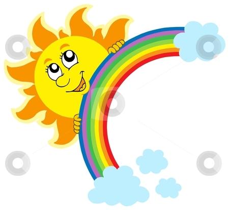 Lurking Sun with rainbow stock vector clipart, Lurking Sun with rainbow - vector illustration. by Klara Viskova
