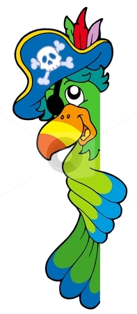 Lurking pirate parrot stock vector clipart, Lurking pirate parrot - vector illustration. by Klara Viskova